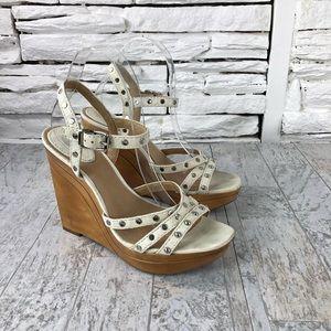 Frye Bridgett Leather Wedge Studded Cream Sandals